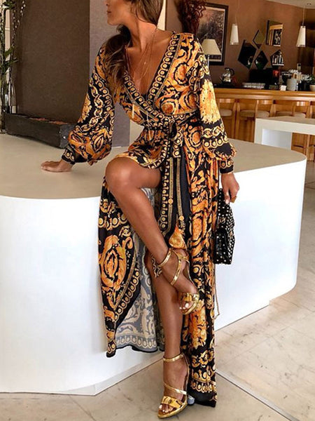 Stylish Lacing Irregular Deep V-Neck Puff Sleeve Maxi Dress