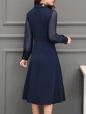 Perspective Gathered Waist Turn-Down Collar A-Line Dress
