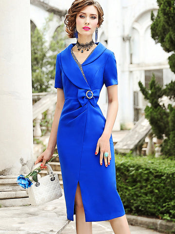 Work Bowknot Ruffled Slit Sheath V-Neck Bodycon Dress