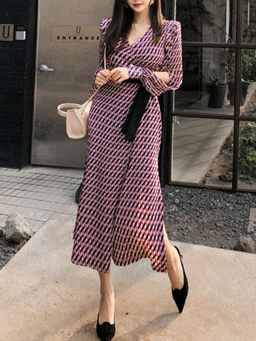 Sashes Plaid Slit Puff Sleeve Gathered Waist A-Line Dress