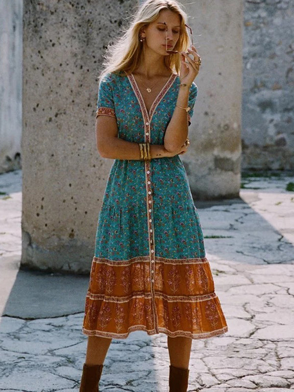 https://www.sheinstore.com/collections/skater-dresses/products/bohemian-stitching-button-print-gathered-waist-a-line-dress