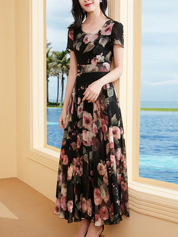 Slim Multi Gathered Waist Print Big Hem Elegant Dress