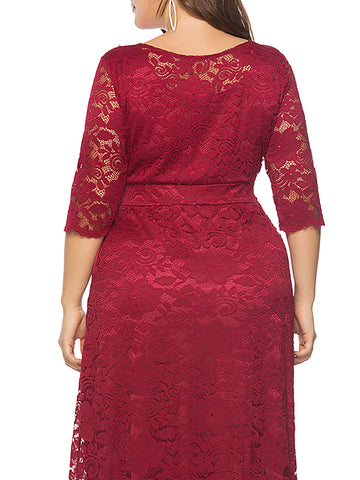 Oversize Lace 3/4 Sleeve Big Hem Maxi Dress