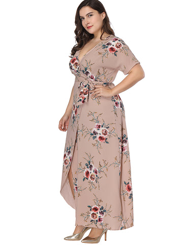 Oversize Lace-Up Floral Print Deep V-Neck Dress