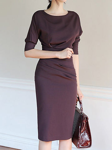 Bodycon Gathered Waist Ruffled Solid Color Dress