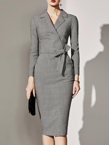 Lace-Up Bodycon Lapel Collar Sheath Dress