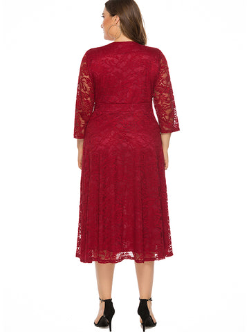 Oversize Low Neck Hollow Out Lace Party Dress