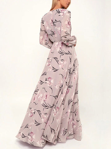 Puff Sleeve Print Lace-Up Print Floor-Length Dress