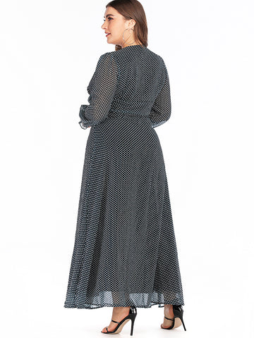 Oversize Puff Sleeve Polka Dot Vintage Maxi Dress