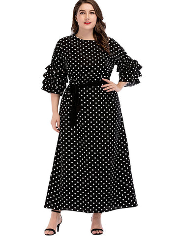 Oversize Casual Polka Dot Ruffles Black Skater Dress