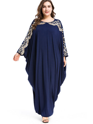 Oversize Ethnic Dolman Sleeve Loose Maxi Dress
