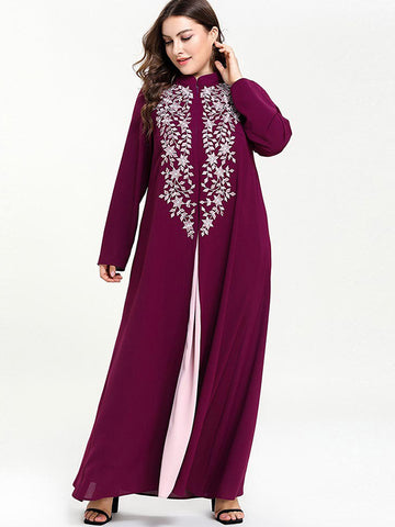 Oversize Embroidery Color-Block Stitching Maxi Dress