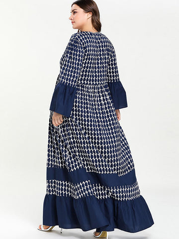 Oversize Lotus Sleeves Ruffles Stitching Maxi Dress