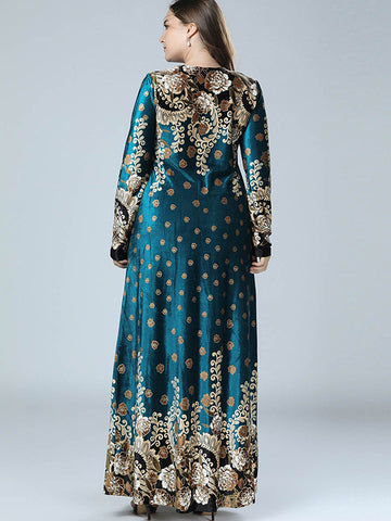 Oversize Velvet Print O-Neck Long Dress