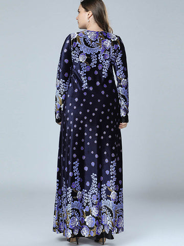 Oversize Print Long Sleeve Big Hem Maxi Dress