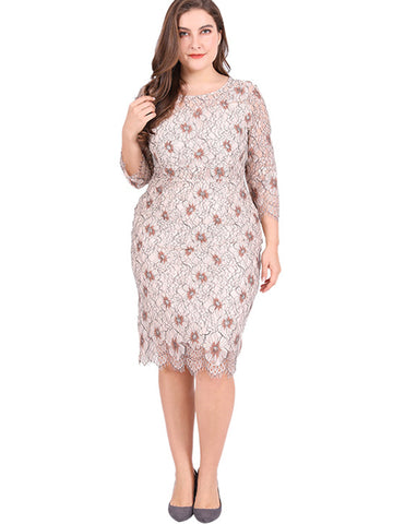 Oversize 3/4 Sleeve Hollow Out Lace Bodycon Dress