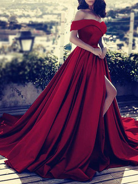Red High Slit Ruffles Off-The-Shoulder Maxi Dress