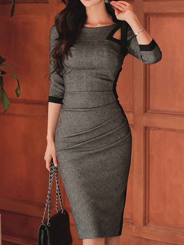 Sheath Bowknot Hollow Out Patchwork Bodycon Dress