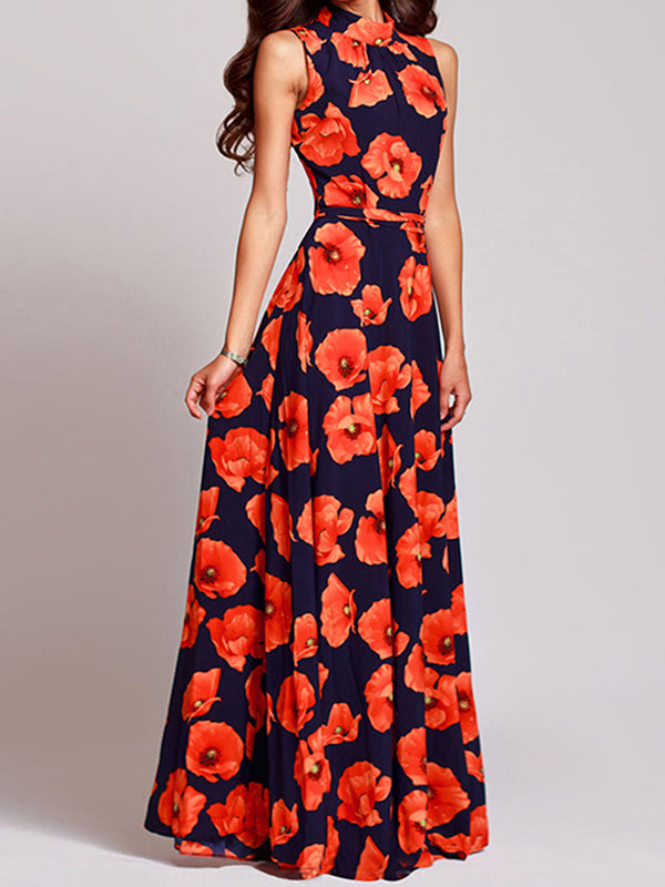Slim Party Sleeveless Big Hem Maxi Dress