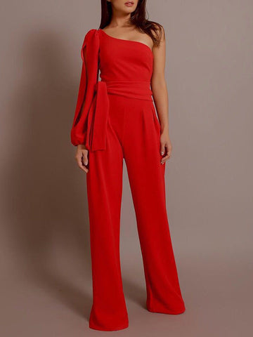 Lace-Up Asymmetric Patchwork Straight Jumpsuit