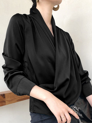 Button Ruffles V-Neck Loose Work Blouse