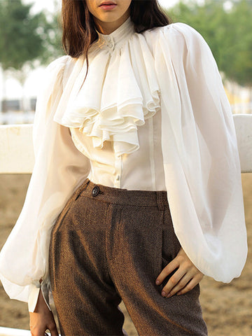 Button Half-Collar Puff Sleeve Vintage Ruffles Blouse