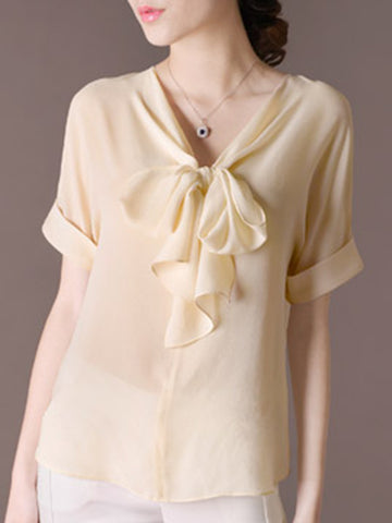 Bowknot Silk Short Sleeve Pure Color Blouse