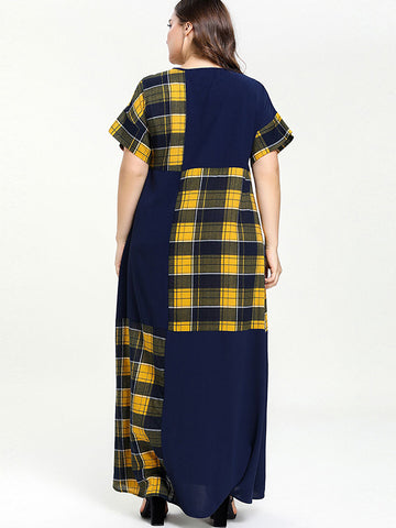Oversize Plaid O-Neck Big Hem Maxi Dress