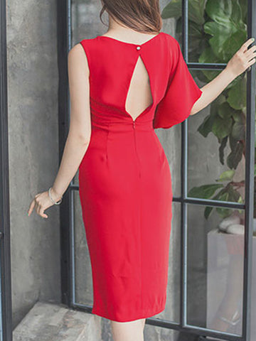 Red Slit Asymmetric High Waist Bodycon Dress
