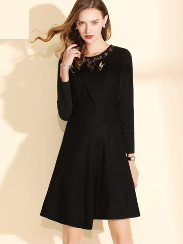 Woolen Patchwork Long Sleeve Skater Dress
