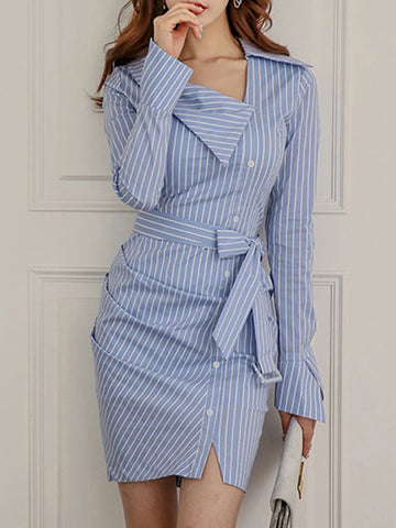 Blue Stripe Lace-Up Asymmetric Bodycon Dress