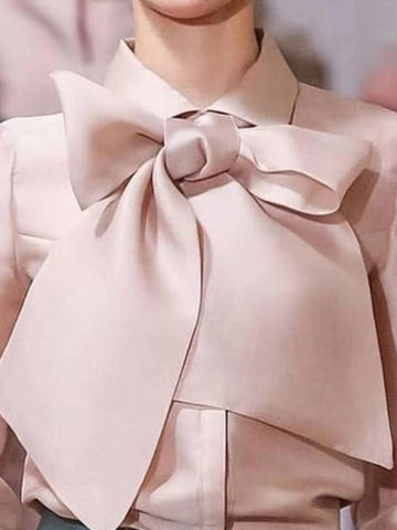 Bowknot Turn-Down Collar Puff Sleeve Blouse