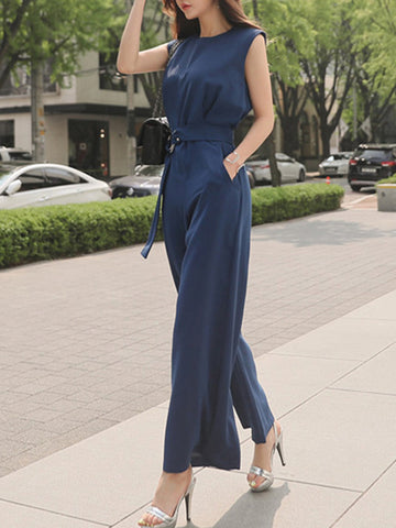 High Waist Pocket Brief Sleeveless Wide Jumpsuit (Without Belt)