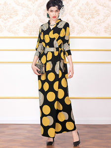 Vintage Print Lacing Seven Sleeves Long Dress
