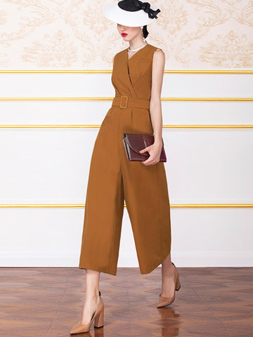 Sashes V-Neck Sleeveless Gathered Waist Jumpsuit