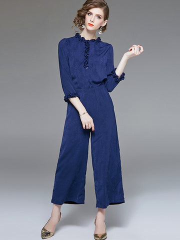 High Waist Ruffles Pocket Blue Jumpsuit