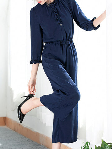 Elastic Waist Ruffles Pocket Wide Leg Jumpsuit
