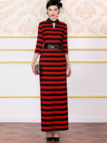Bodycon Stripe Seven Sleeves Maxi Dress (Without Belt)