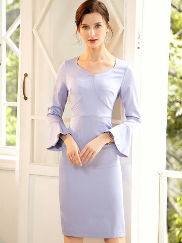 Styleonme Flare Sleeve Solid Lilac Bodycon Dress