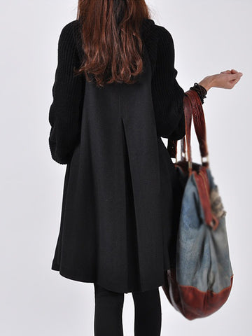 Warm Turtle Neck  Solid Buttoned Paneled A-line Coat