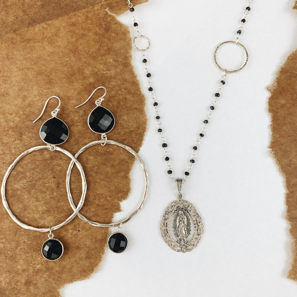 Black Onyx Wire Wrapped Necklace with Mary