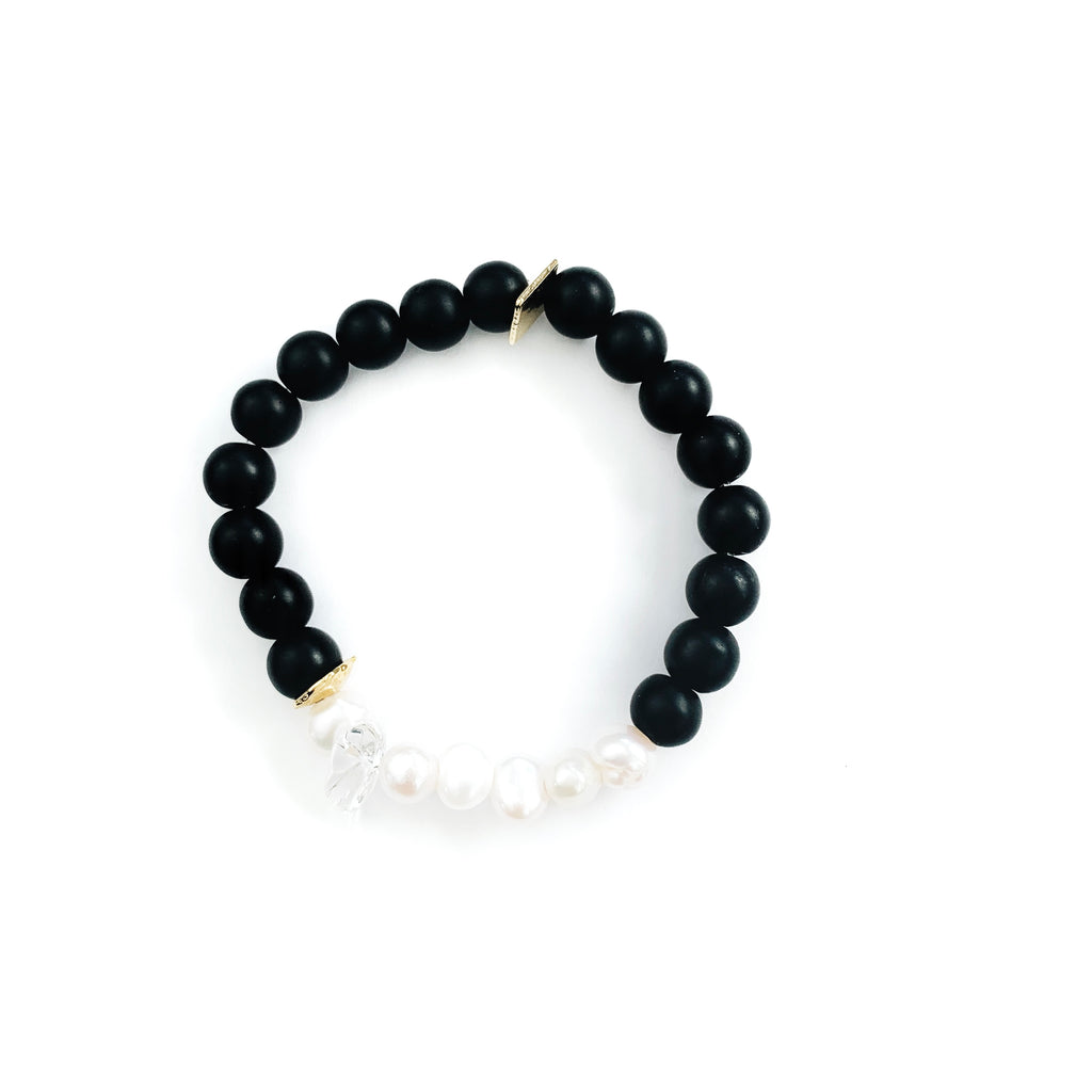 Black Onyx Bracelet with Pearl Cluster