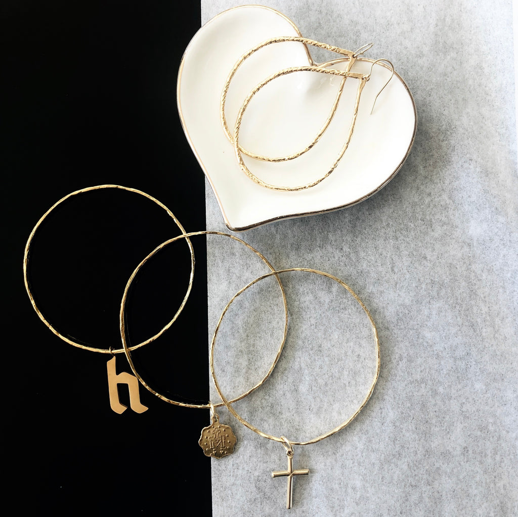 Gold Plated Bangle with Cross