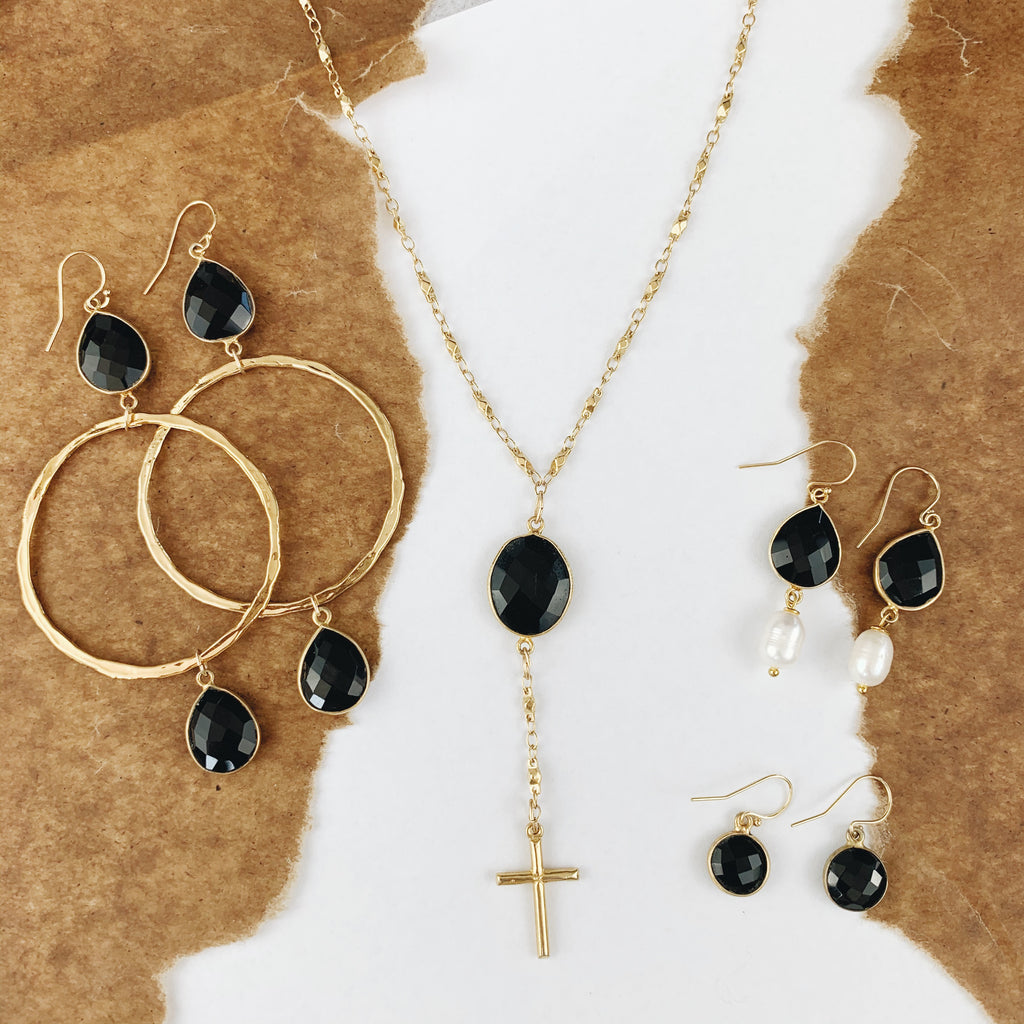 Gold Juliana Chain with Black Onyx and Cross