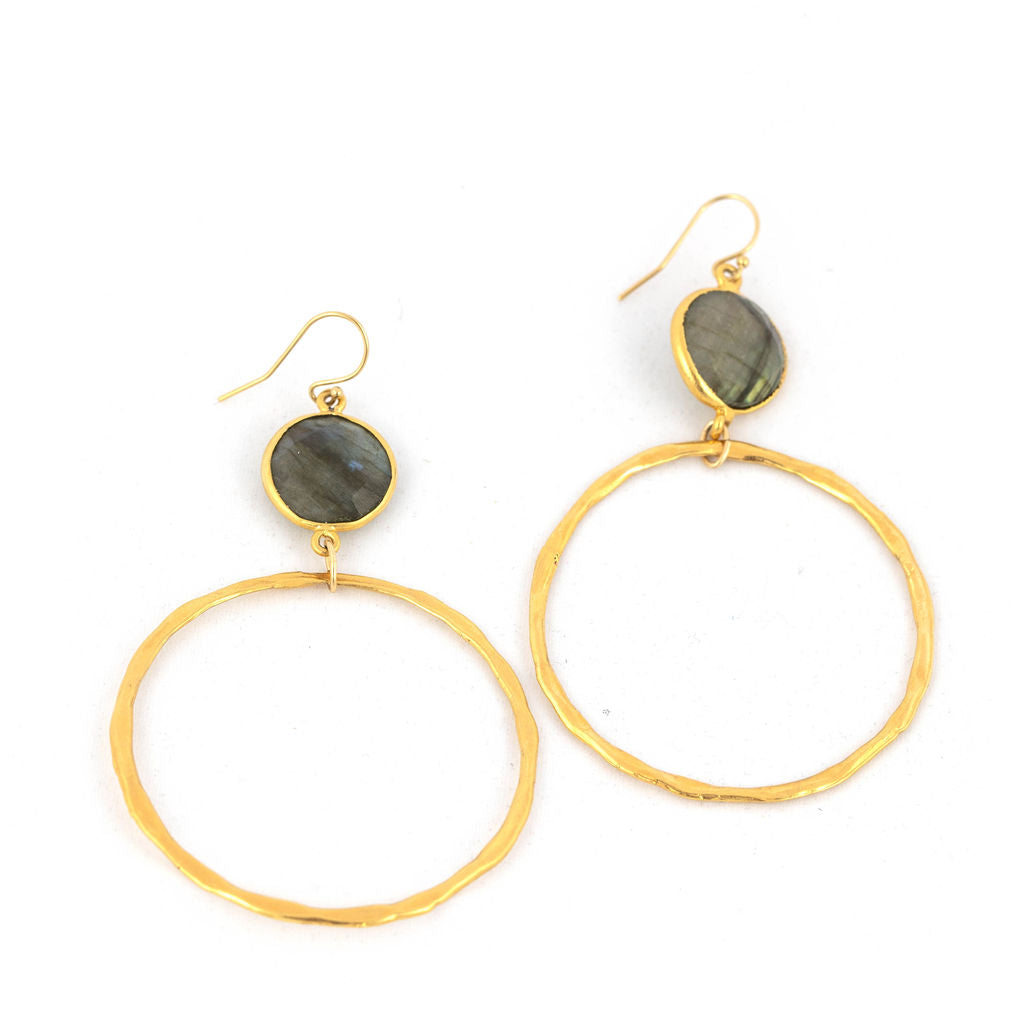 Labradorite Gold Drop Hoop Earrings