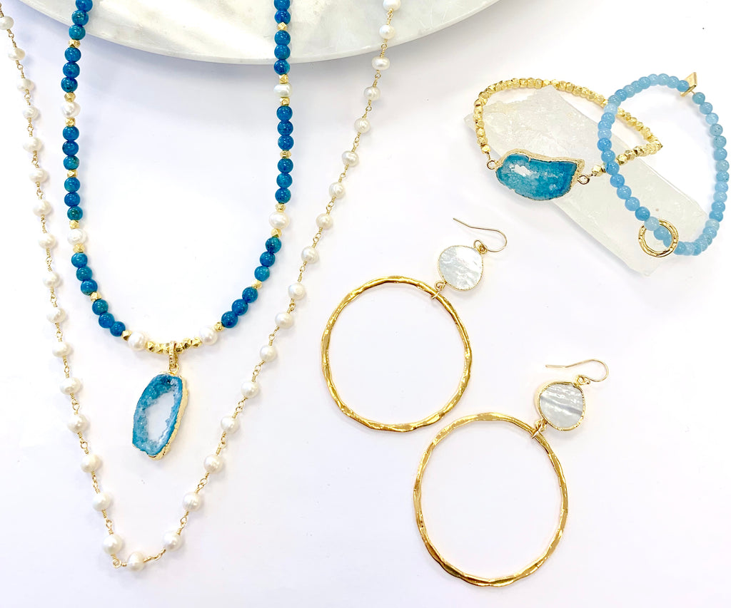 Aquamarine, Pearl  Layer & Stack Set