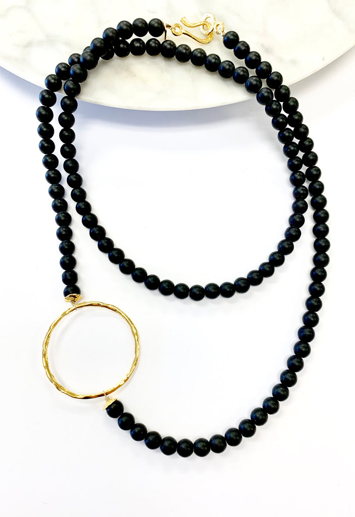 Black Onyx beaded Necklace with sideways Ring