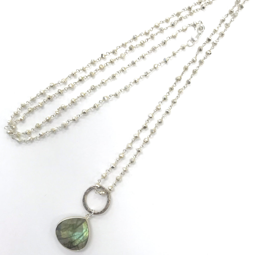 Pyrite Beaded Chain Necklace with moving Labradorite Stone