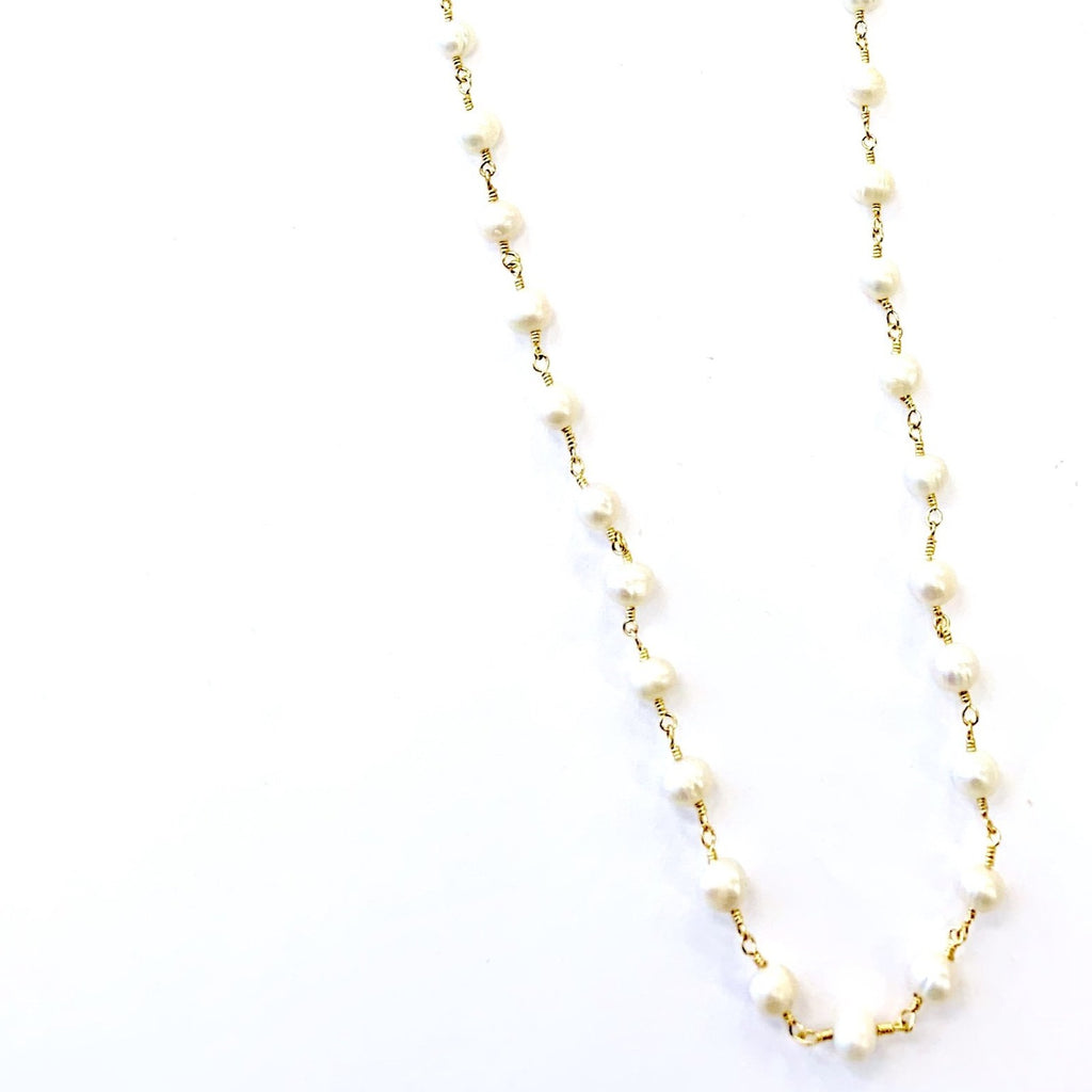 Pearl wire wrap Necklace