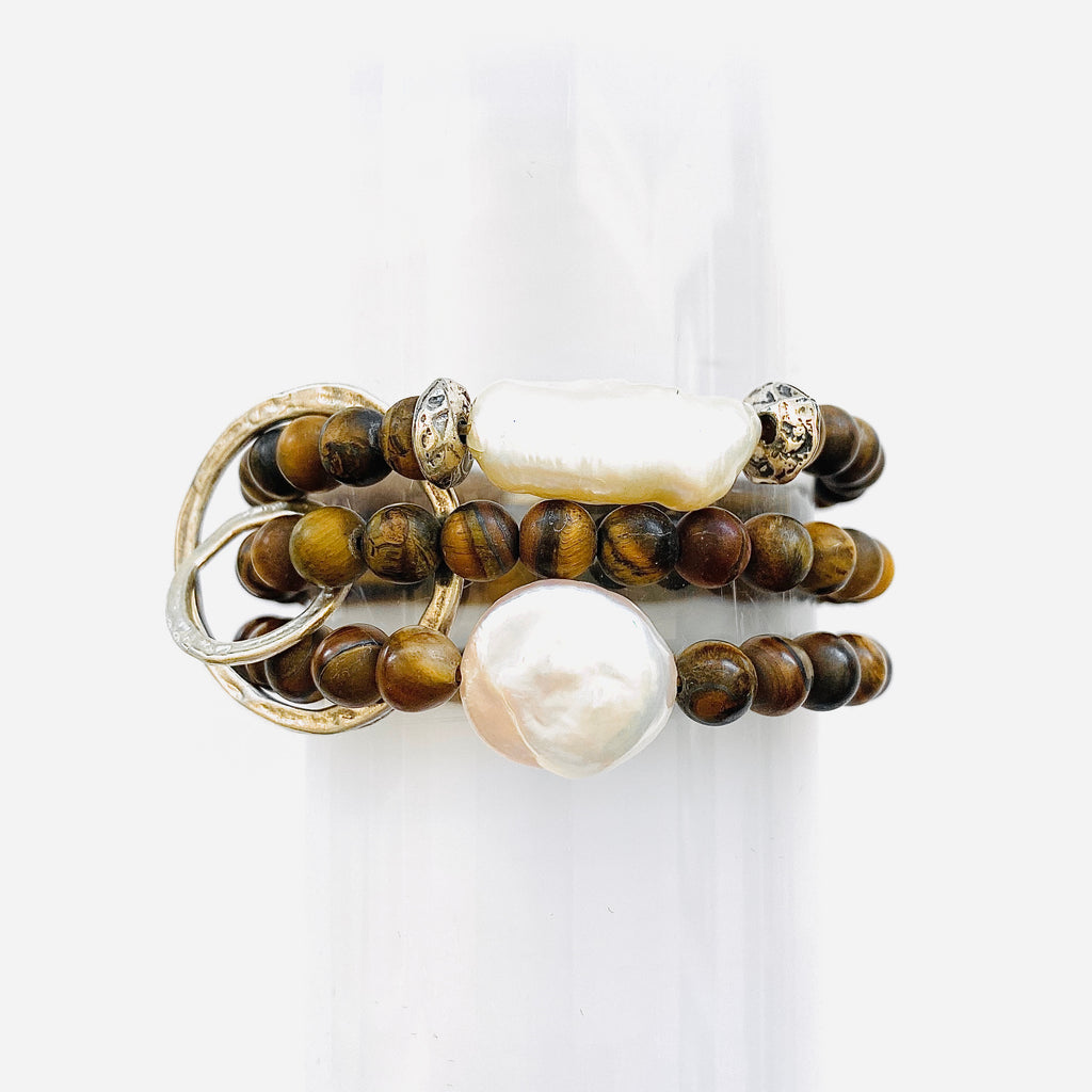 Bone Triple Strand Bracelet with Fresh Water Pearls & Sterling Silver Rings